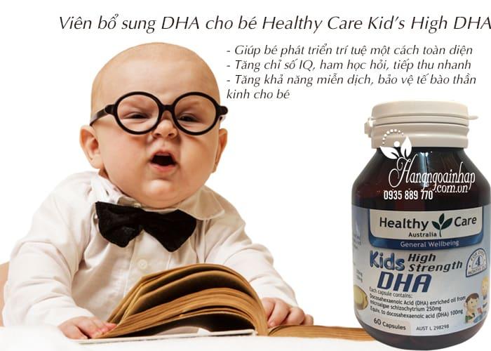 Viên uống bổ sung DHA cho trí não bé Healthy Care Kid's High DHA 60 viên của Úc