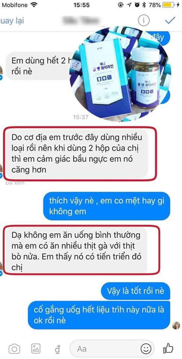 Review viên uống nở ngực genie boom fat yline từ một số người dùng trên Facebook ảnh 1